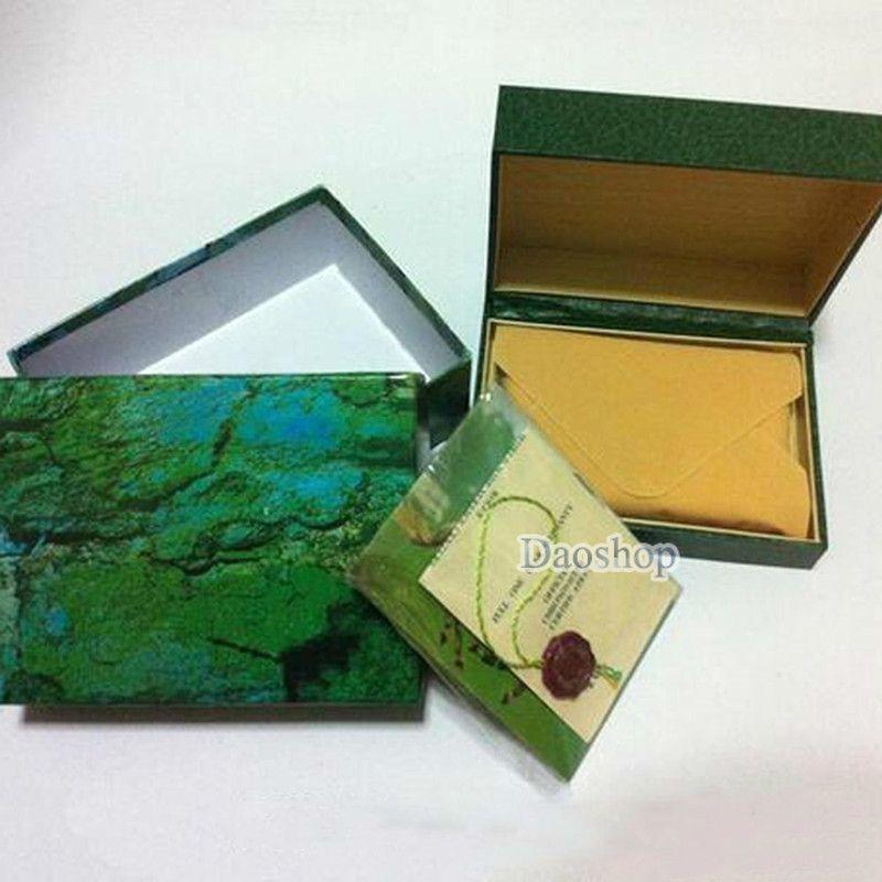 شحن مجاني الأعلى صناديق الساعات الفاخرة ل ماركة rlx رجالي الساعات الأخضر الأصلي الحقيقي هدية مربع ورقة مربع الخشب ل rolx ووتش