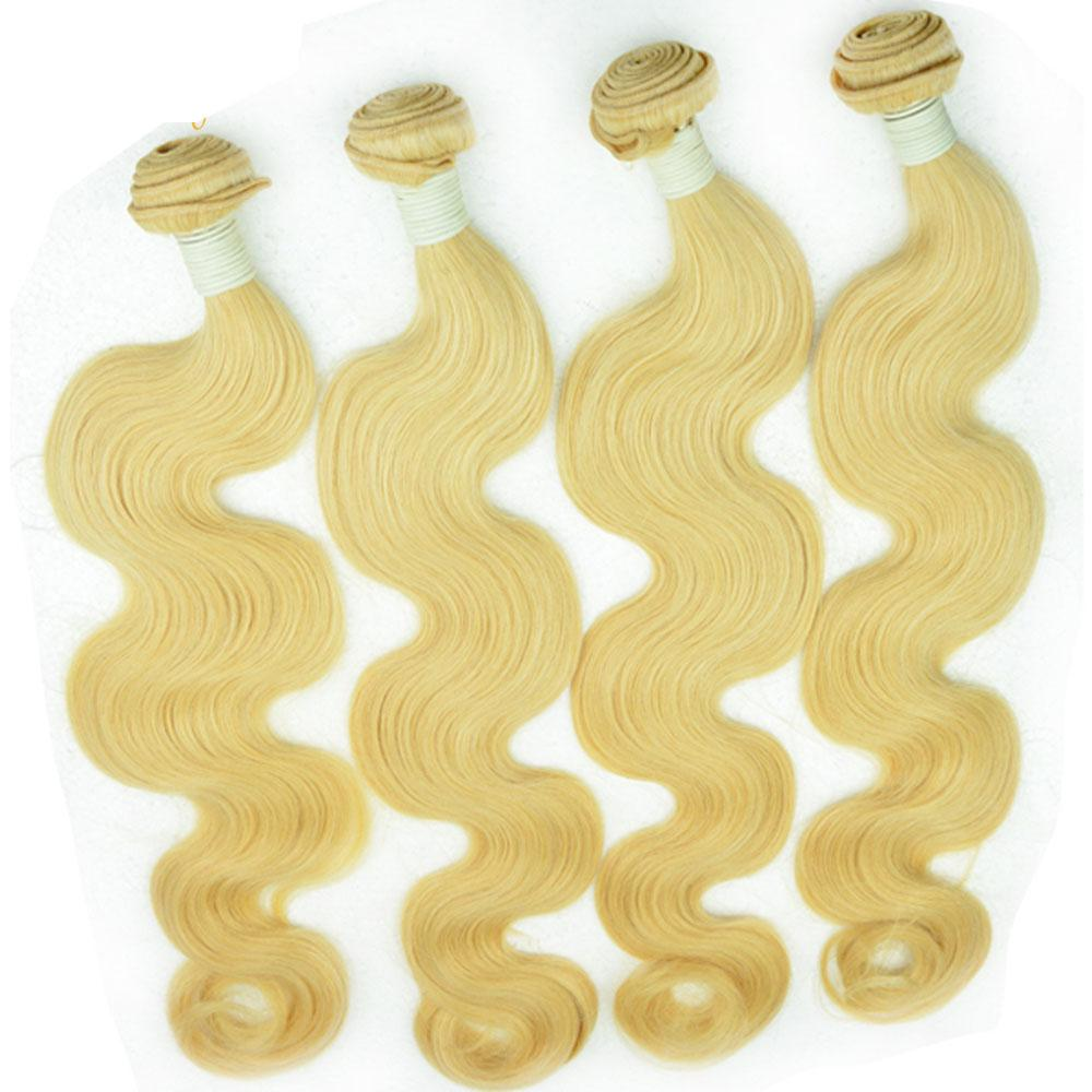 Sarışın bakire Brezilyalı remy saç örgüleri 3/4/5 demetleri vücut dalga İşlenmemiş İnsan saç uzantıları 10A ipek düz sarışın saç atkı parçaları