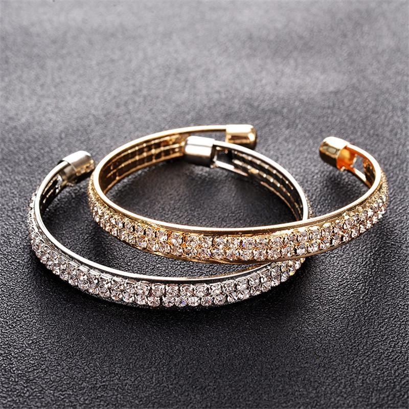 Pulseiras de cristal de luxo para mulheres ouro e banhado a prata Abrir Bangle Cuff Moda Rhinestone cheia de jóias por Mulheres