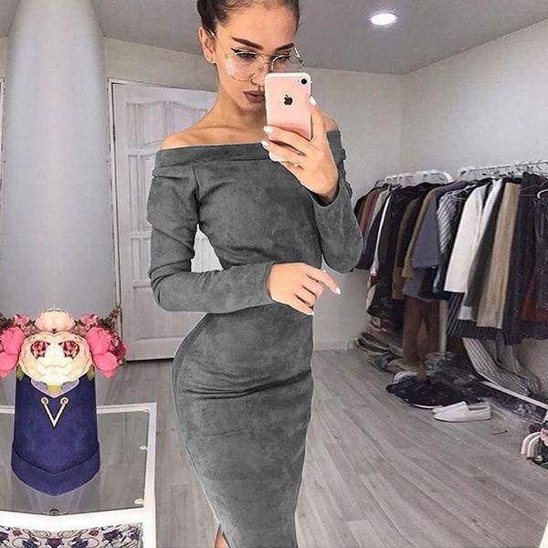 Maniche lunghe con spalle scoperte Donne a metà polpaccio Abiti 2019 Autunno Inverno Femminile sexy Bodycon abiti per feste di Capodanno