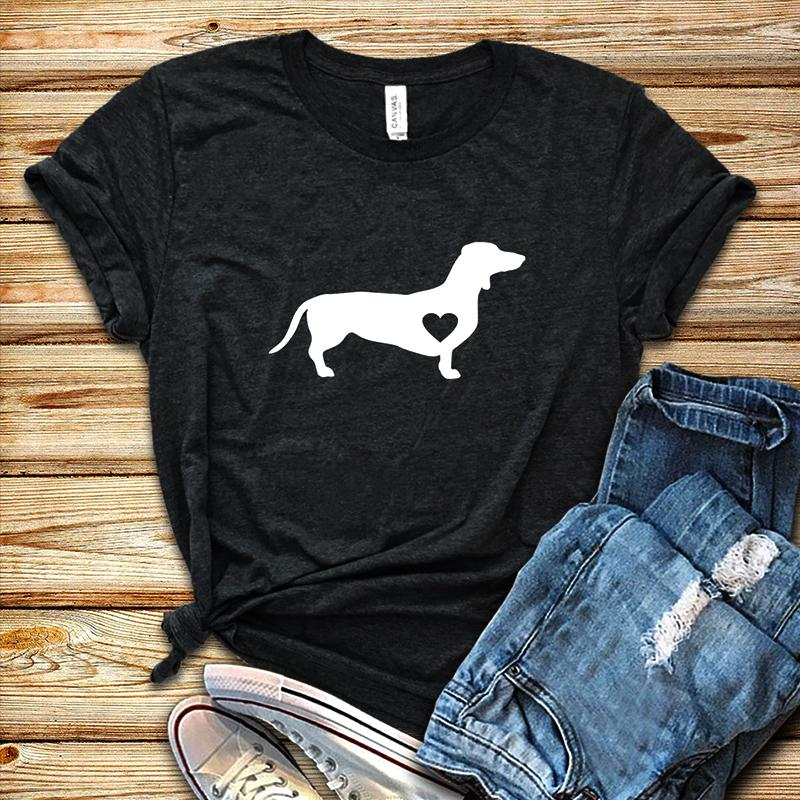 T-shirt Dachshund Love Dog Chemise Doxie Chemise Wiener Dog Streetwear T-shirts Femme T-shirt Graphique En Coton Causal Haut Harajuku Y19072701