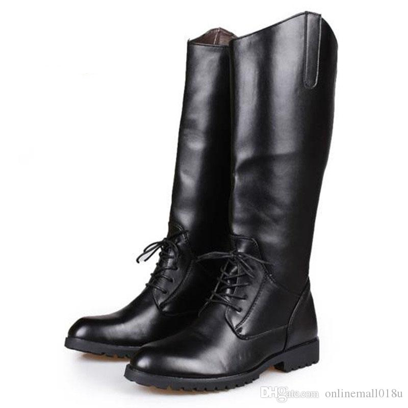 Lace Up Mens Knee High Leather Boots