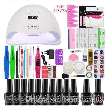 Lampe LED UV kit Nail SECHE 12pcs Nail Gel Polish Kit Soak Off Tool Set manucure Gel Polish drill electlic