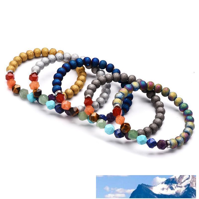 7 Chakra Yoga Bracciale pietra naturale Cut Surface Beads Energia cristallo agata Bracciali Donne e gioielli di moda regalo degli uomini