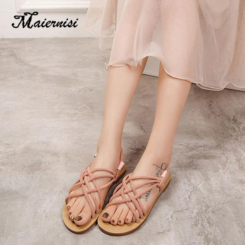 MAIERNISI Women Sandals Fashion Gladiator Sandals For Women Summer Shoes Female Flat Rome Style Cross Tied