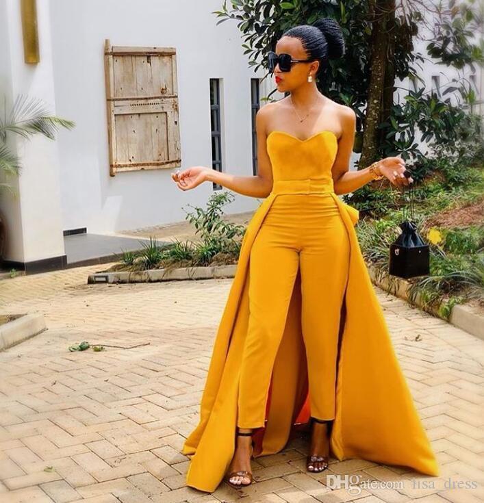 2020 желтый сексуальный милый комбинезон формальные вечерние платья африканский стиль длинные платья выпускного вечера оболочки дешевые комбинезон