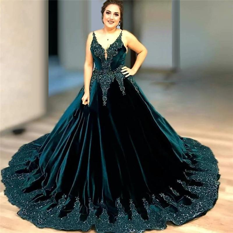2020 Sexy Elegant Woman Plus Size Dark Green Sequins Prom Dresses Long Arabic Evening Gowns Formal Party Gala Dress Ball Gown