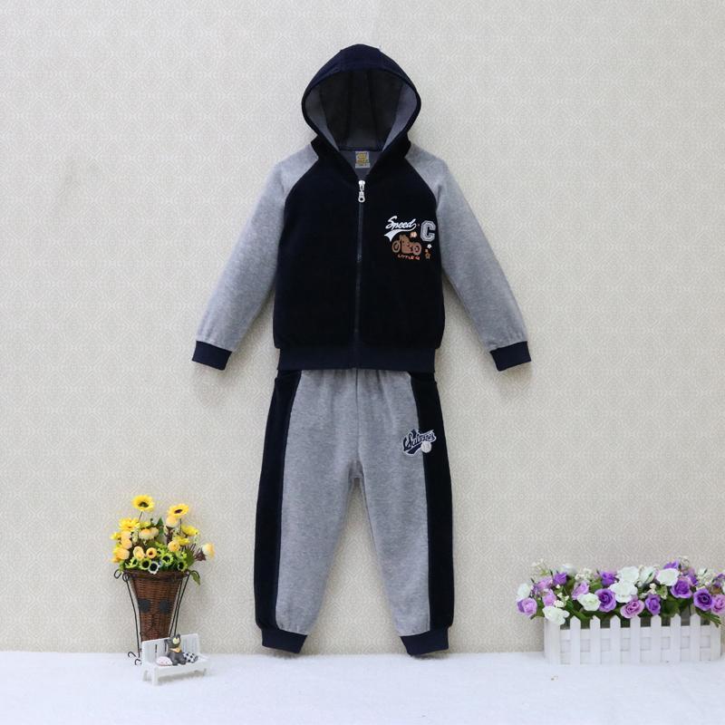 Çocuk Kadife Giyim Seti Hoodie Uzun Kollu Fermuar 2 adet / set Bebek Giyim Boys 4 ila 7 yıl 2019 LY191227 Kostüm + Uzun Pantolon Tops