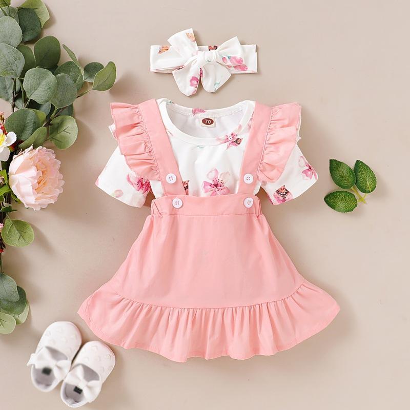Bebê verão definir padrão recém-nascido Pétala bonito de manga curta Vestido + Strap Saia + Headband