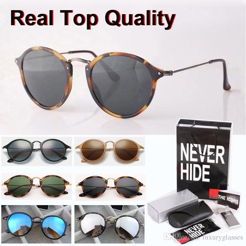 1pcs al por mayor - Marca Gafas de sol redondas hombres las mujeres de alta calidad de las lentes de cristal de gafas con la caja original, paquetes, accesorios, todo!