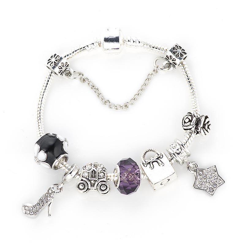 Moda salto alto Cristal Pingente DIY Bracelet femininas Pandora estilo dos desenhos animados Bead Bracelet Jóias