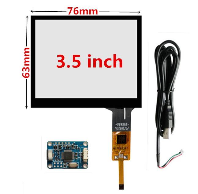 3.5 pulgadas placa del panel de 76 mm * 63 mm industria de Frambuesa Pi pantalla táctil capacitiva de cristal digitalizador táctil del controlador USB