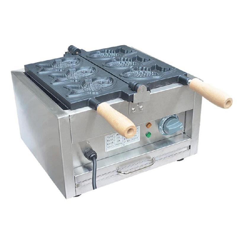 NEW 110V / 220V Gewerbe japanischen Waffelautomat Fisch-förmige Kuchen-Maschine Edelstahl Smokeless Elektro-Rund Taiyaki