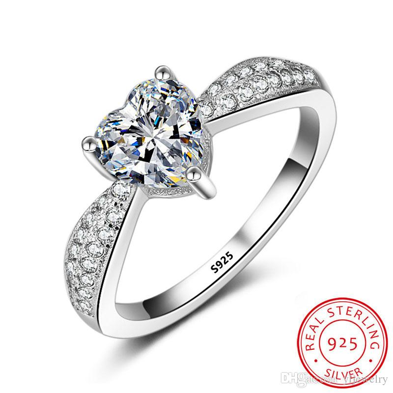 Classic Charm Woman Wedding Ring Engagement Solid 925 Silver Heart Shape Rings Gift for Women Party Trendy Romantic Jewelry Gift XR003