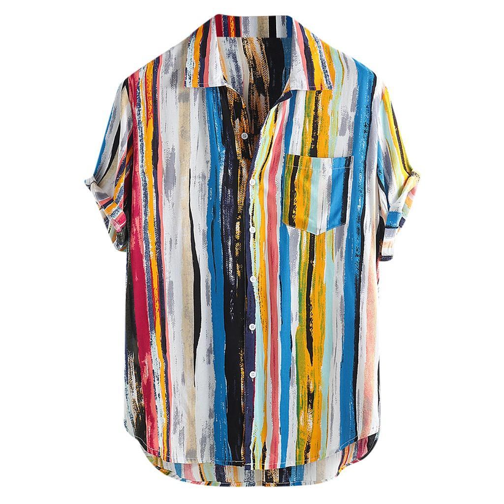 2019 Neue Männer Shirts Qualitäts-Luxus stilvollen Mens Multi Color Lump Brusttasche Kurzarm Rund Hem lose Bluse My17