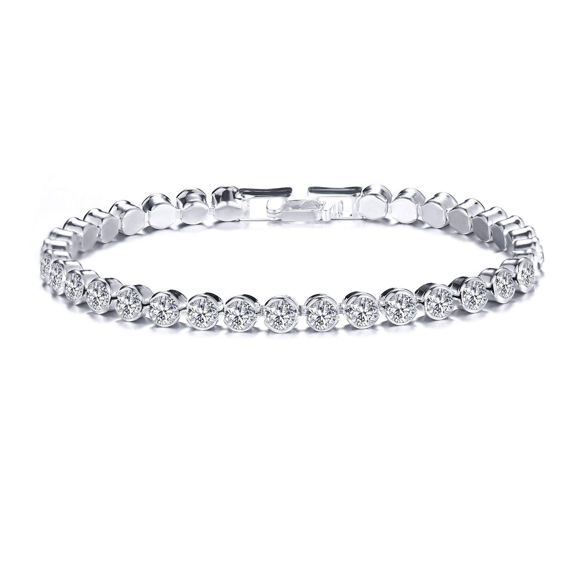 Zirkonia Tennis Armbänder Iced Out Kette Kristall Hochzeit Armband für Frauen Männer Gold-Silber-Farben-Armband