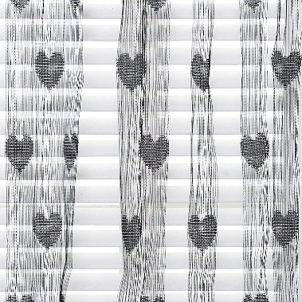 Aşk Kalp İp Perde Pencere Kapı Bölücü Şeffaf Perde Valance Yumuşak Yaz Dekoratif Koru Pencere Ekran Perde