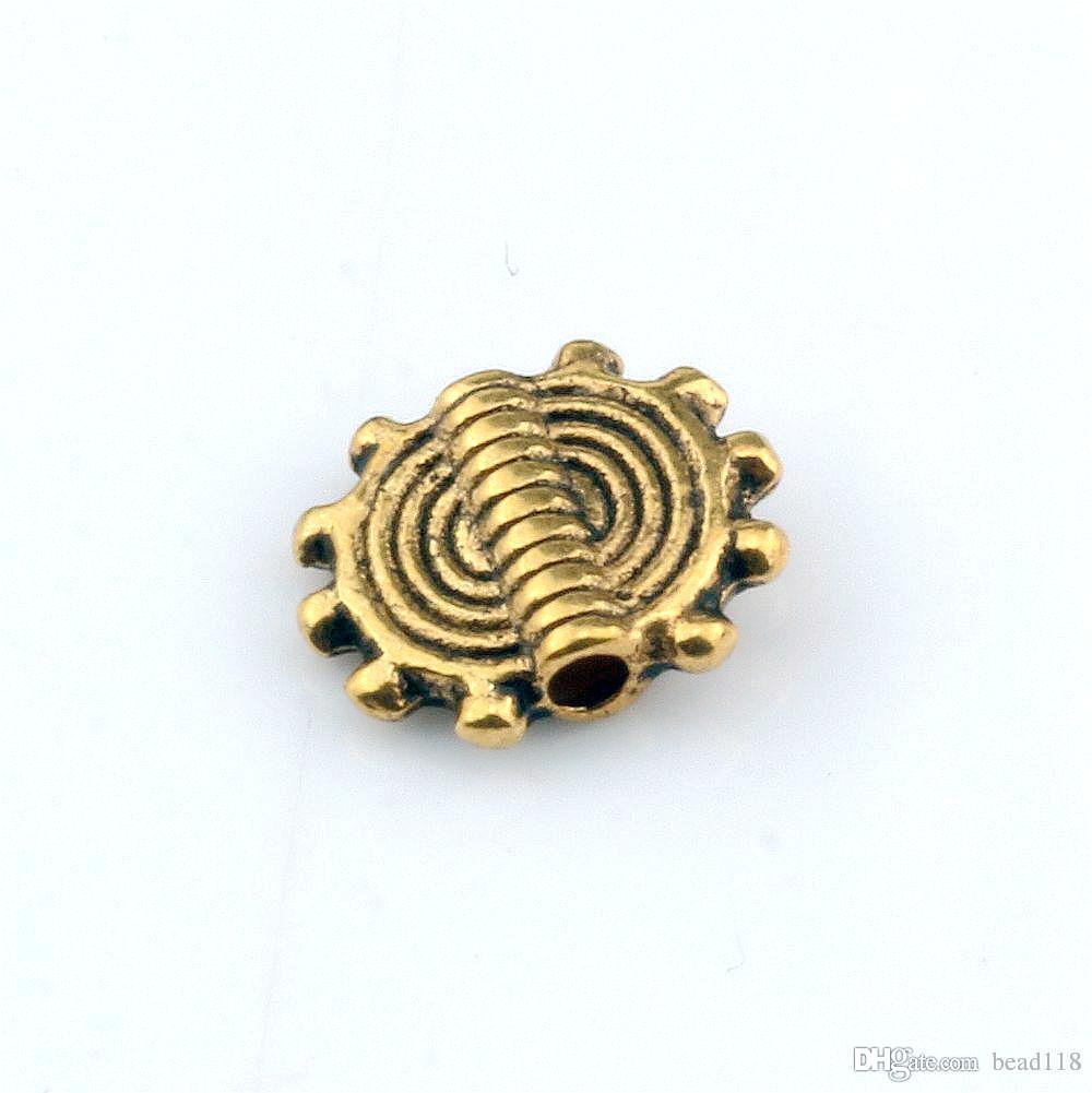 Hot Sale ! 250pcs Antique Gold Zinc alloy Gear Wheel Spacer Beads 8x10mm DIY Accessories Fit beaded bracelet