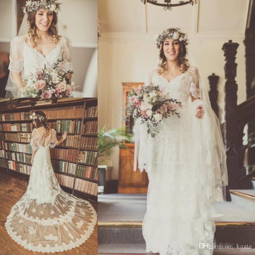 Spitze Brautkleider Eine Linie tiefer V-Ausschnitt mit kurzen Ärmeln Sweep Zug Sexy Backless Frühling Sommer Boho Art-Hochzeits-Brautkleider
