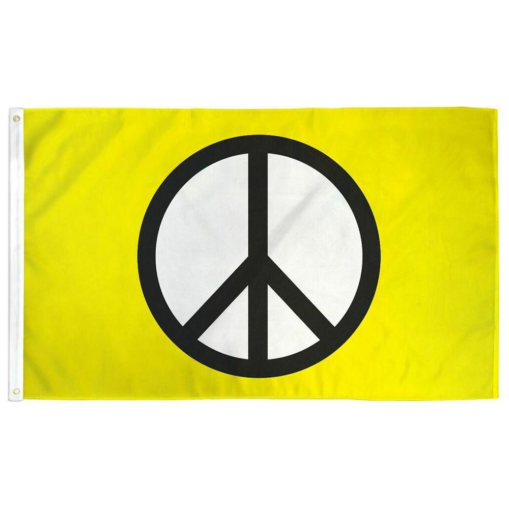Символ мира желтый флаг 3x5 футов баннер 100D 150X90 см полиэстер латунь люверсы пользовательские печати флаг, бесплатная доставка