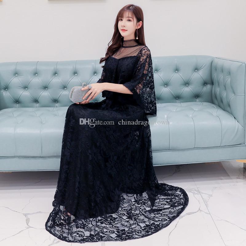 Modernes chinesisches Qipao nationale Trend Kleid schwarz wissen weiblich elegant vestido die Shanghai-Geschichte Frauen lange ethnische cheongsam Kleid Kleidung