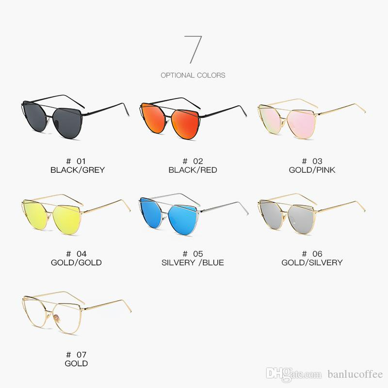 2020 Fashion Lunettes de soleil de marque pour les femmes Lunettes Cat Eye Homme miroir Lunettes de soleil Femme Vintage Or Lunettes