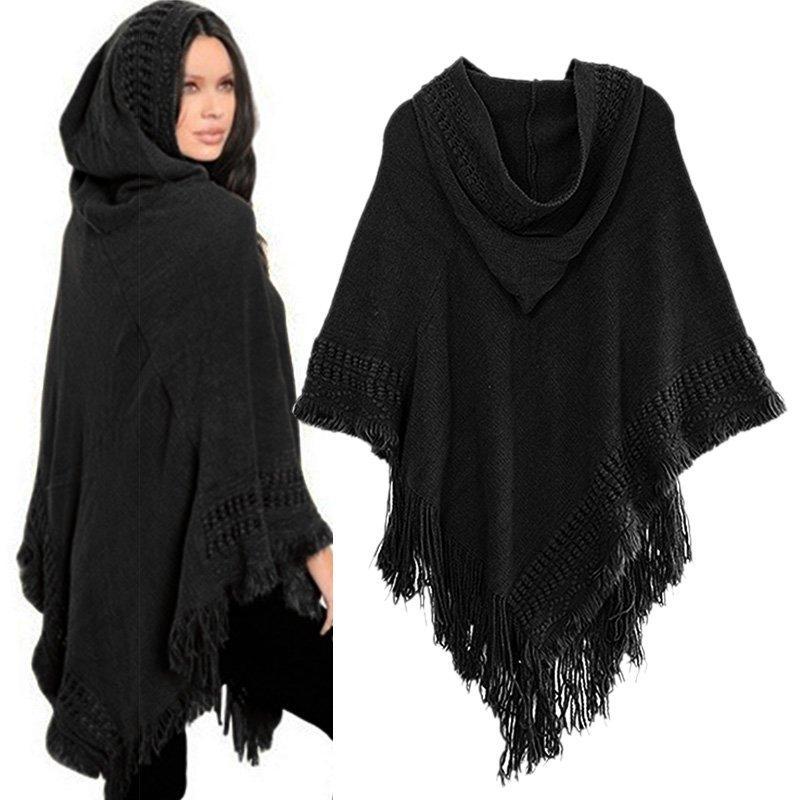 Women Cloak Hooded Sweaters Knit Batwing Top Poncho With Hood Cape Coat Tassel Sweater Outwear 19SS
