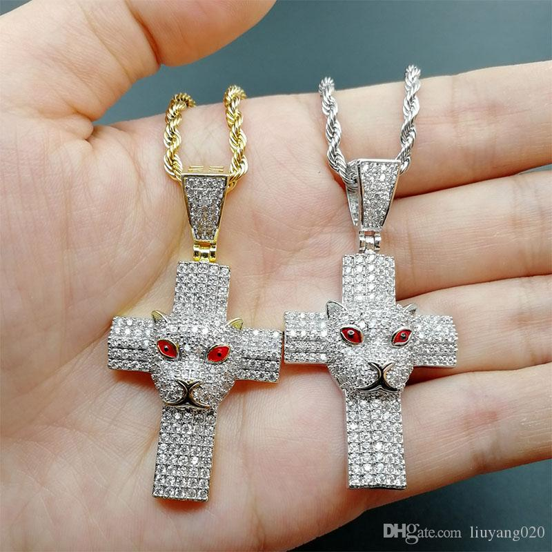 Homens hip hop iced out cruz com leopardo pingente colares A ++ Zircon moda charme charme Hiphop presentes da jóia