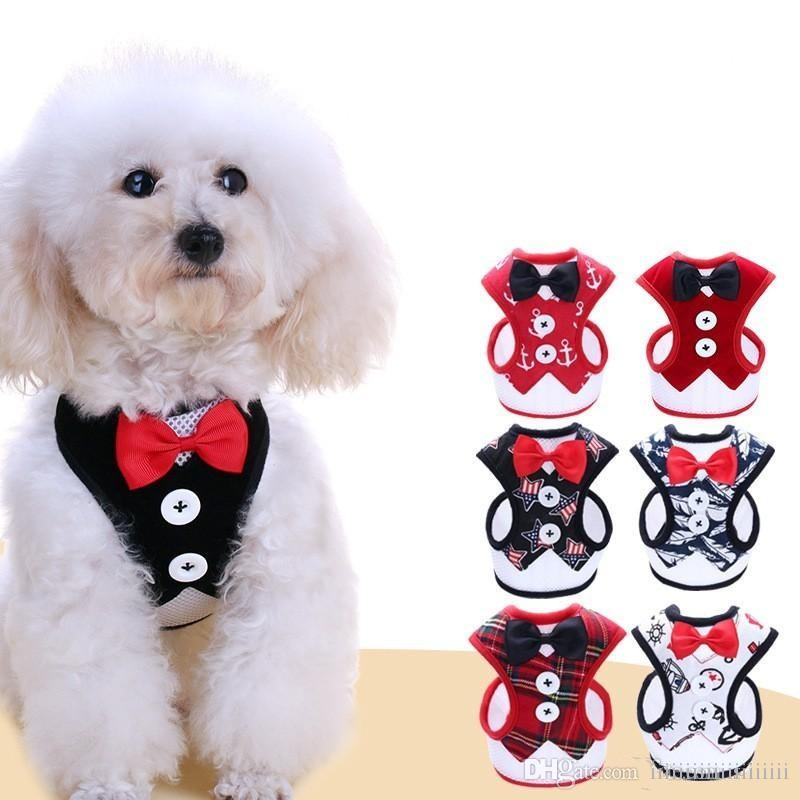 Fashion Vest Pet Harness Formal Bow Tie Dress Dog Chest Strap With Metal Buckle Puppy Leashes Cute