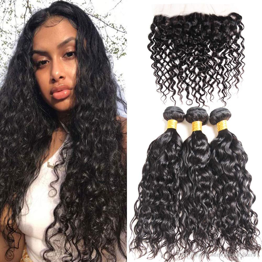 Malaysian Water Wave 3 Bundles with swiss lace frontal Ocean wave hair extension curly weave bundles wet and wavy human hairs 105g HOT