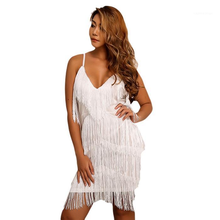 Spaghetti Strap Partido Ladies Vestidos Vestuário Feminino sólida Tassel Sexy Womens Night Club Bodycon vestido do verão