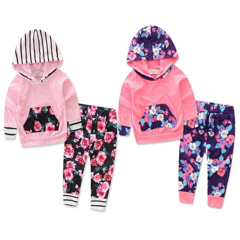 Novos Projetos Infantis Do Bebê Meninas Hoodies Florais Ternos Flor Patchwork Com Capuz Tops Com Stripes Correias Calças Elásticas 2 peças Crianças Roupas conjunto
