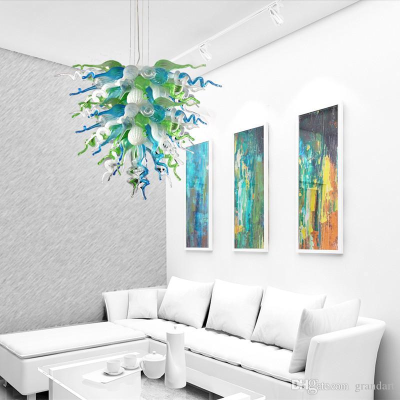 Top qualité populaire lustre rustique LED ampoules salon lampes suspendues à la main en verre soufflé lustre d'éclairage à vendre