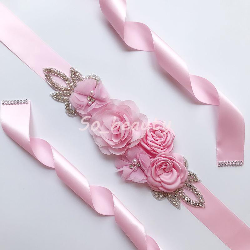 Bridal Sash Wedding 3D Floral Pearl Waistband Flower Bridesmaid Dress Sash Wedding Accessories Gown Ribbon SW203 Multi Color
