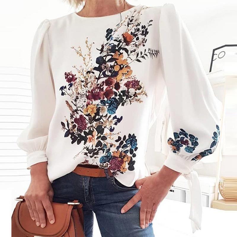 de Nova Mulheres Flora Impresso Blusa mulheres do vintage Casual Verão Outono Shirts Blusas Bohemian O pescoço camisa de manga longa Tops