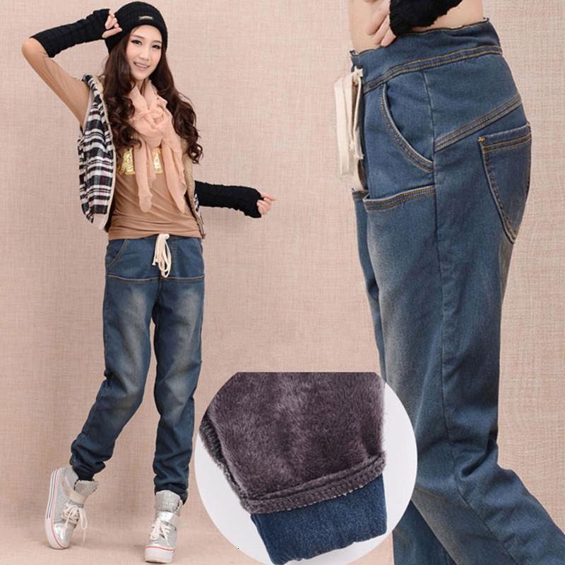 Прибытие зимы теплые джинсы Женщины сгущает руно Тощий шаровары брюки упругие талии брюки джинсовые Плюс Размер брюки C1504 CJ191205