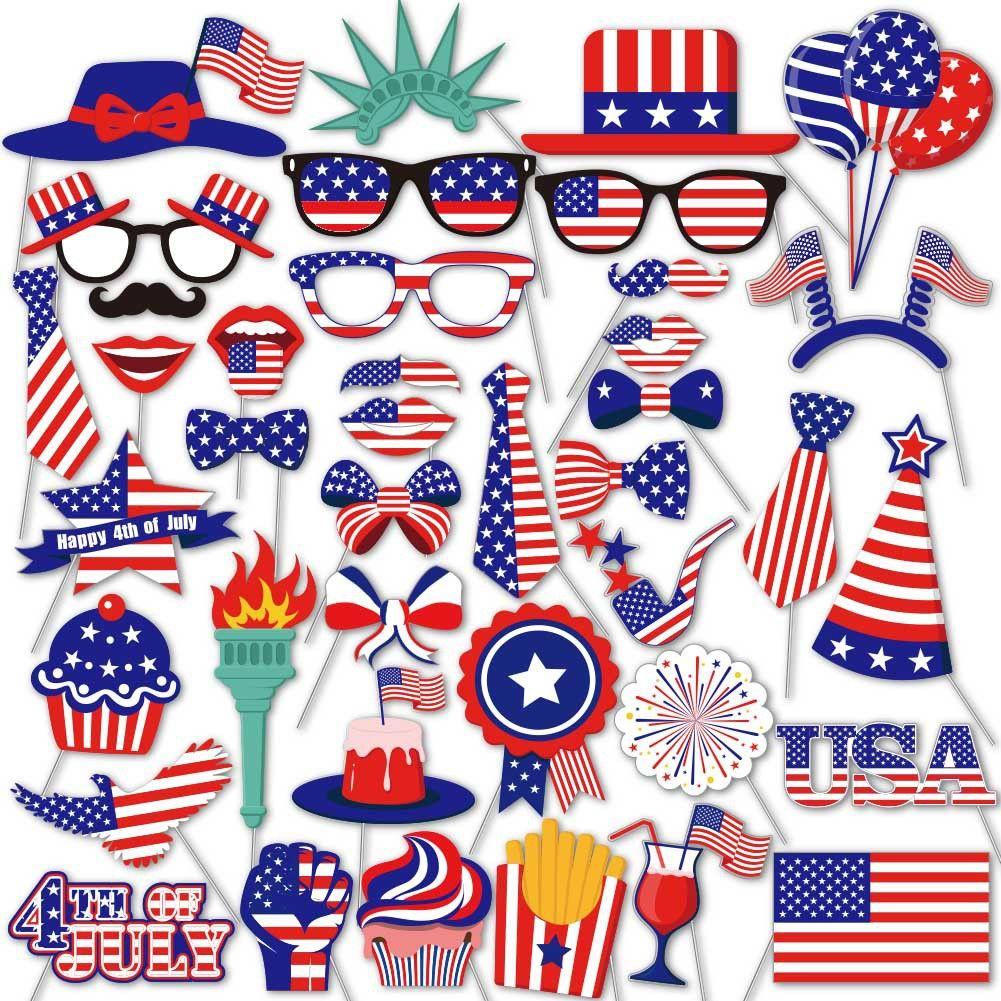 Varış Yeni Temmuz Kutlama Kırmızı Beyaz Mavi Banner Flags Bağımsızlık Günü Fotoğraf Dikmeler Parti dekorasyon Amerikan 4