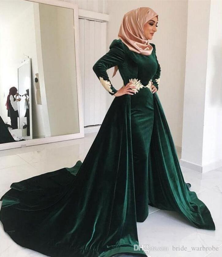 2019 Terciopelo verde oscuro Madre árabe de la novia Vestidos con faldas Apliques Mangas largas Dubai Saudi Prom Vestidos de noche de fiesta formal