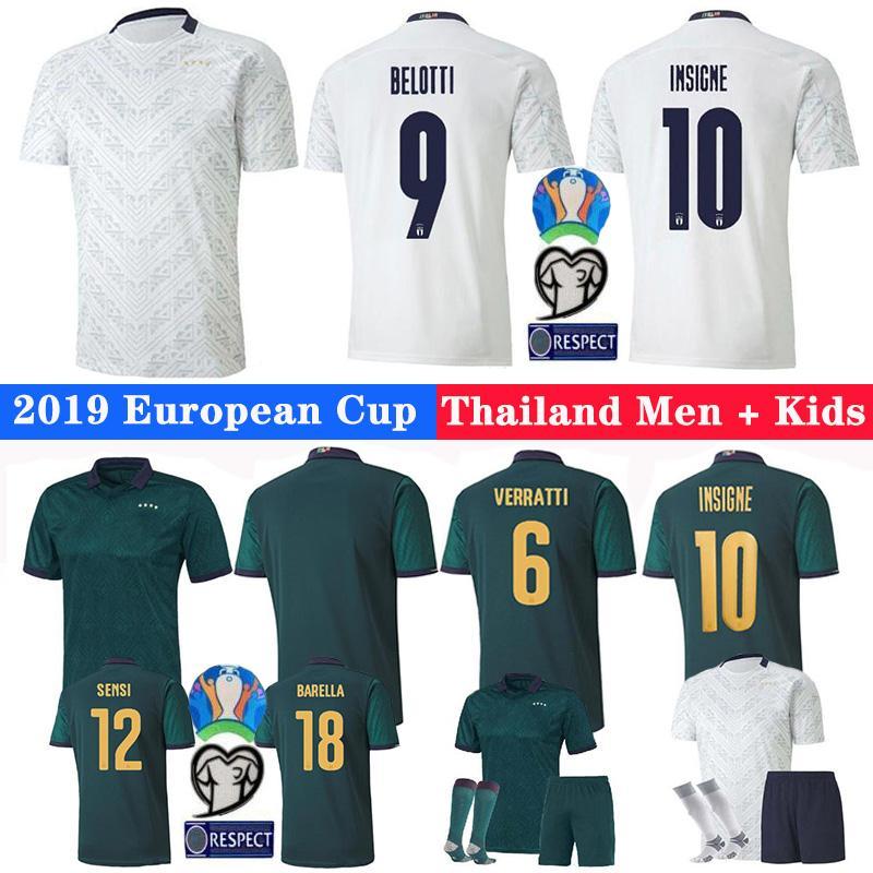 2019 20 ITALIEN Europa-Cup-Fußball-Jersey CHIELLINI EL Shaarawy BONUCCI INSIGNE Bernardeschi Männer + Kinder-Fußball-Hemd Uniformen