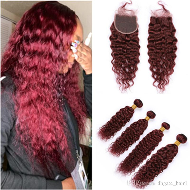99J Wine Red Peruvian Wet and Wavy Human Hair Closure with 4Bundles Burgundy Virgin Hair Weaves Water Wave Bundles with Lace Closure 4x4