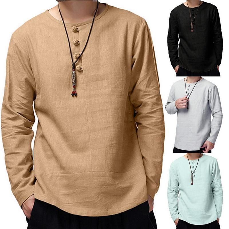 été hommes chemise boutonnée à manches longues couleur unie Loisirs Casual Hauts Retro Hommes Coton Chemises Camisa 2020 dropshipping