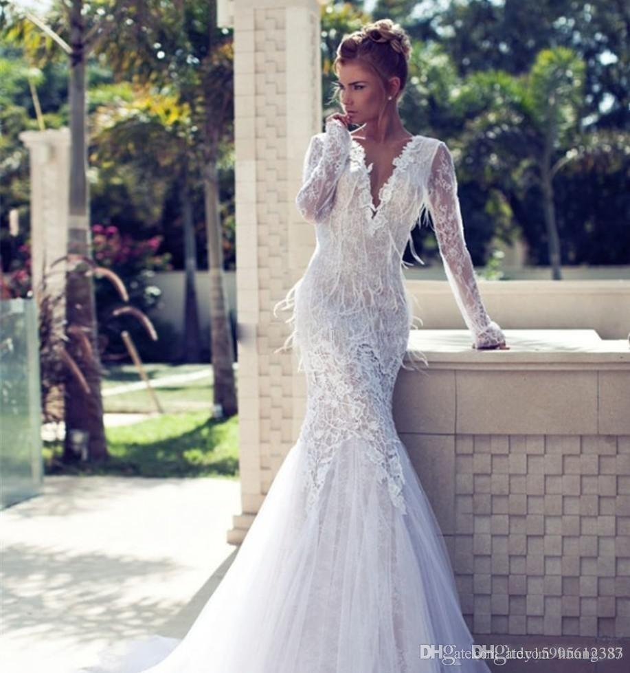 2019 Gorgeous Wedding Dresses Amazing Deep V-Neck Mermaid Backless Feather Lace Wedding Dress Long Sleeves Bridal Gowns 100% true picture 87