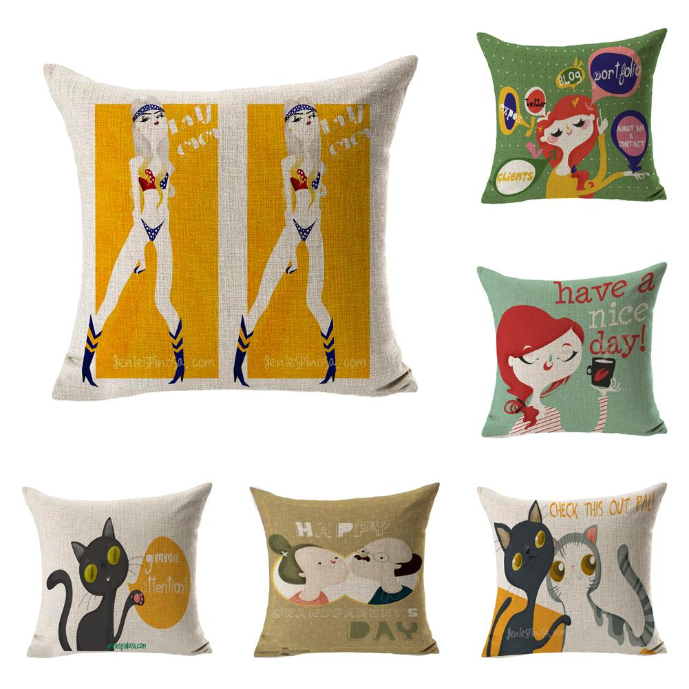 Watercolor Girls Have Nice Day Throw Massager Pillow Case Decorative Pillows Warm Home Decor Vintage Gift