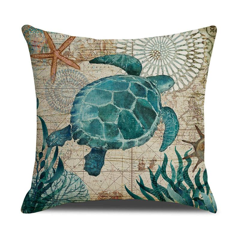Home Linen Cushion Cover 45*45 Cm Classic Marine Vintage Biological Printing Pillowcase Car Home Decor Pillow Linen Cushion