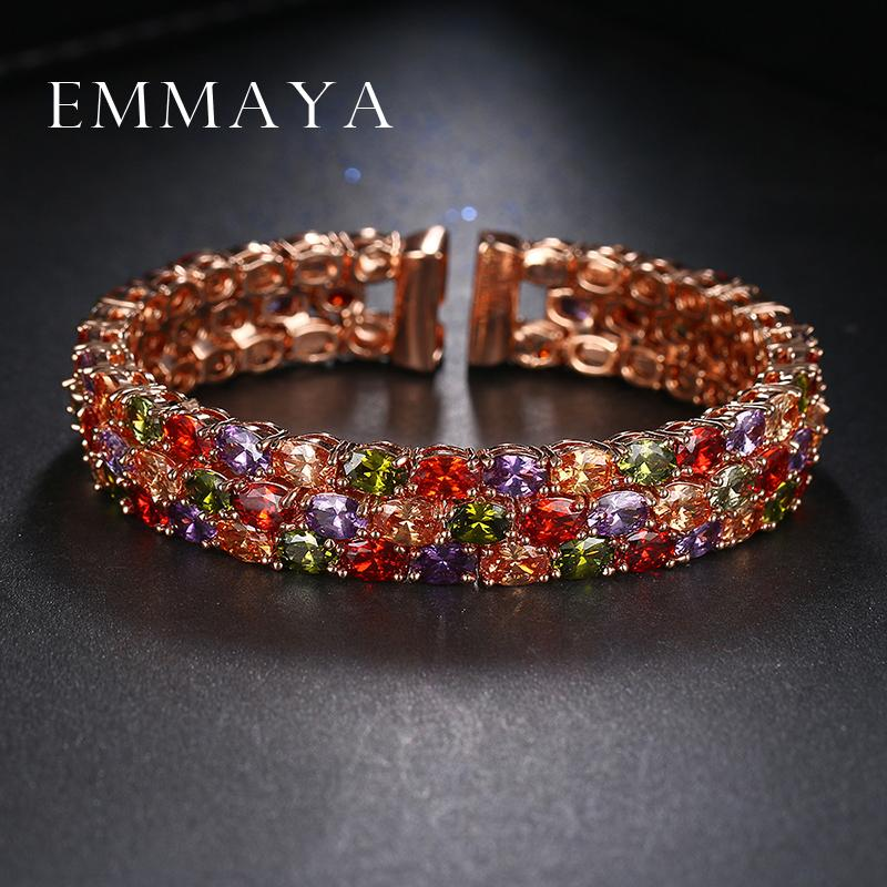 Emmaya New Arrival Oval Shape Rose Gold Colors Austrian Rhinestones Bracelets For Women Rose Gold Color Pulseira Jewelry Bijoux Y19051101