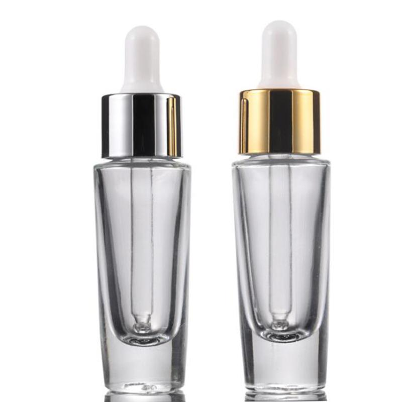High Quality Thick Bottom Transparent 15ml Glass Cosmetic Bottles Dropper Empty Essence Essential Oil Bottle for sale