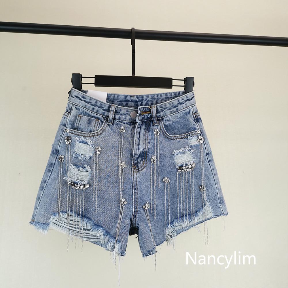 Nuova moda estate pantaloni caldi 2019 donne paillettes pesanti trapano nappe jeans a vita alta pantaloncini studentesse denim pantaloncini nancylim