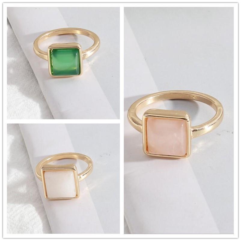 1cm Square White Green Rose Pink Quartz Stone Rings Fashion Inner Dia 1.7cm Gold Color Brincos Pendientes Jewelry for Women