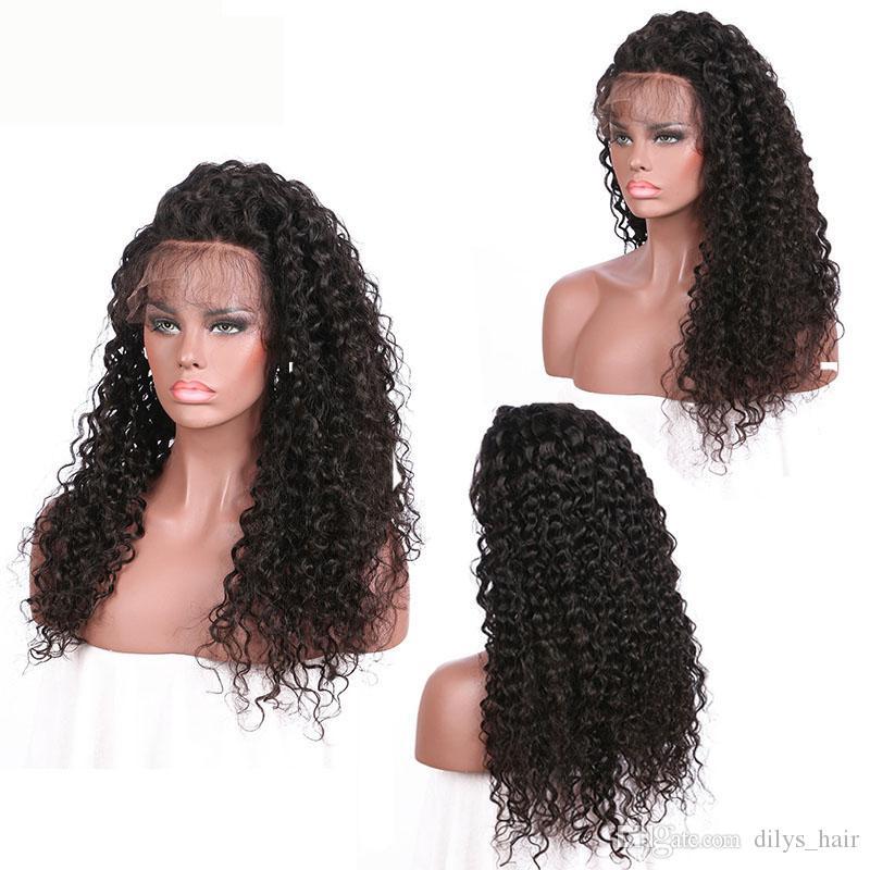 Rizado cordón de la onda frontal pelucas de cabello humano 150% Densidad 8-24inch brasileña de Malasia Remy del indio del pelo del color natural