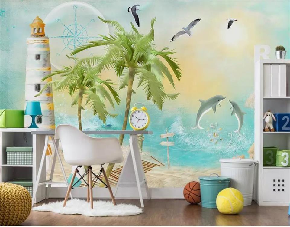 Dimensioni personalizzate 3D Photo Wallpaper Camera dei bambini Murale dipinta a mano Coconut Beach Balloon Immagine Murale Home Decor Creative Hotel Studio Wallpaper 3D